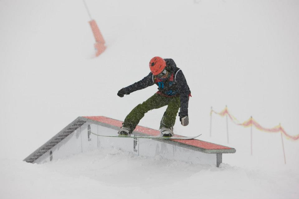 Boardslide at the British Champs in Tignes